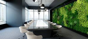 Modern meeting room with garden wall